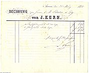 Kern Invoice from March 1878